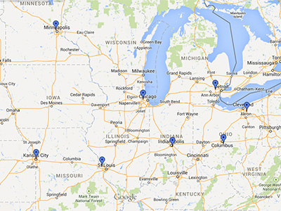 HDS Midwest Warehouse locations
