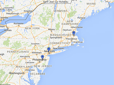 HDS Northeast Warehouse locations