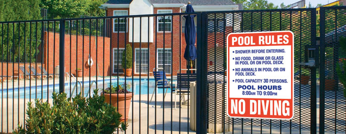 Pool Safety and Equipment Rules Sign