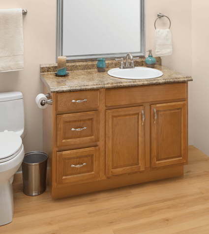 Custom Amber Oak Bathroom Vanities