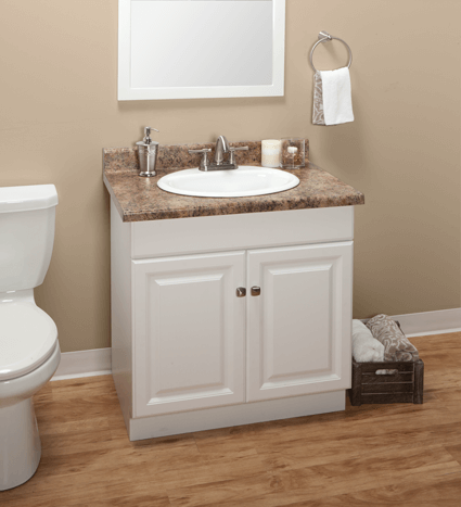 Custom White Thermofoil Bathroom Vanities