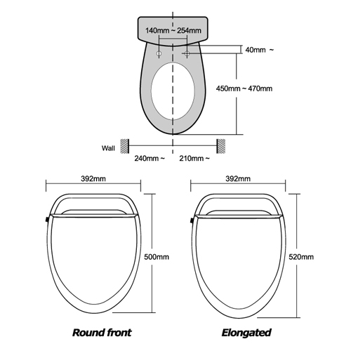 round front toilet dimensions. View the product specification  BioBidet U SPA Round Bidet Toilet Seat Remote Control Operated