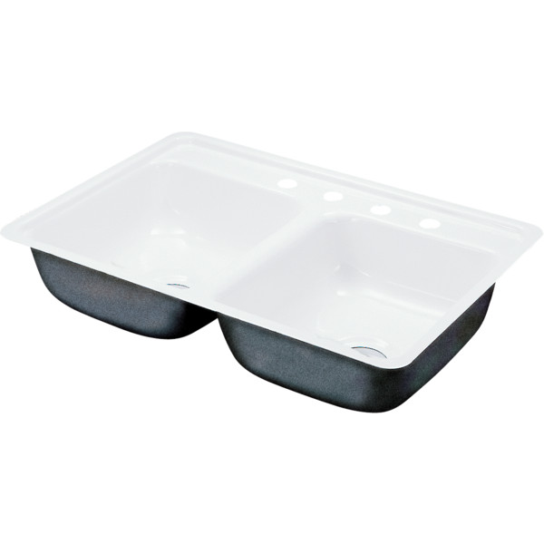 ... Bowl Kitchen Sink White Porcelain Steel 4Hole 6-1/2
