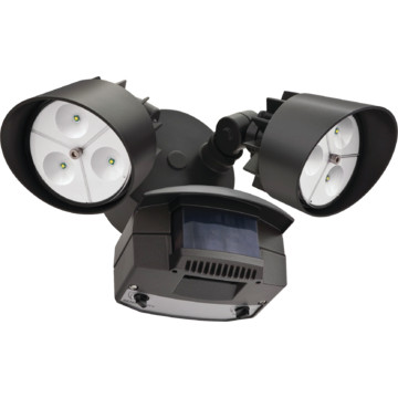 lithonia lighting led two head flood light 22 watt bronze 120 volt. Black Bedroom Furniture Sets. Home Design Ideas