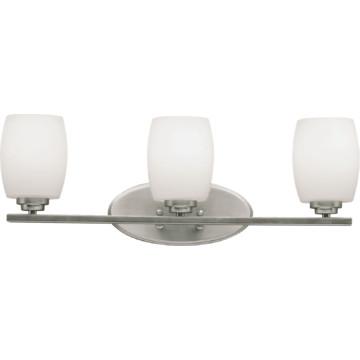 Vanity Light Fixture Brushed Nickel : Vanity Fixture, Three-Light, Brushed Nickel, Etched White Glass HD Supply