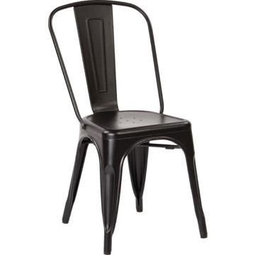 Metal Dining Chair In Matte Black With Backrest Fully Assembled HD Supply