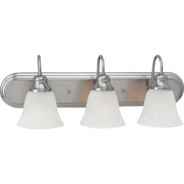 windgate three light fluorescent vanity fixture brushed. Black Bedroom Furniture Sets. Home Design Ideas