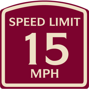 X 15 Speed Speed Limit 15 MPH Sign, Ivory on Burgundy, Non-Reflective, 16 x 16 ...