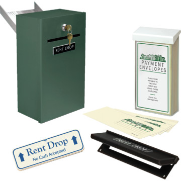 rent drop box kit with door chute green with ivory sign hd supply. Black Bedroom Furniture Sets. Home Design Ideas