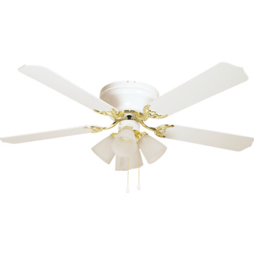 Hugger Mount 52 Quot Ceiling Fan White With Polished Brass