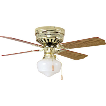 42 hugger mount ceiling fan polished brass schoolhouse. Black Bedroom Furniture Sets. Home Design Ideas