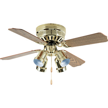 42 Hugger Mount Ceiling Fan Polished Brass Bullet Light