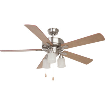 """Seasons 52"""" Ceiling Fan With Adjustable Down Light Brushed"""