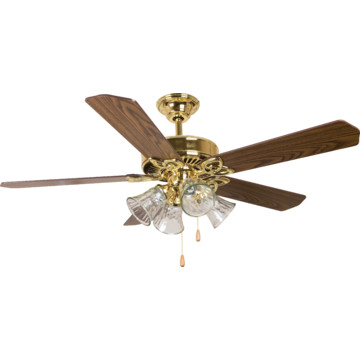 seasons 52 dual mount ceiling fan polished brass tulip. Black Bedroom Furniture Sets. Home Design Ideas