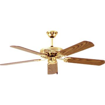 """Seasons 52"""" Dual Mount Ceiling Fan Polished Brass"""