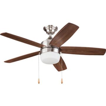 seasons 44 single mount ceiling fan brushed nickel led schoolhouse light kit hd supply. Black Bedroom Furniture Sets. Home Design Ideas