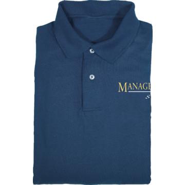 Men 39 s navy blue screen printed polo shirt for management for Screen printing polo shirts