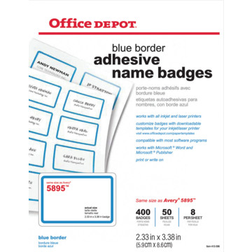 Office depot brand name badge labels pack of 400 hd supply for Office depot shirt printing
