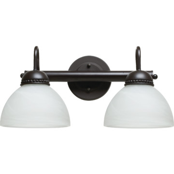 Vanity Fixture, Two-Light, Oil-Rubbed Bronze, Alabaster-Style Glass HD Supply