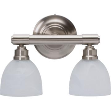 fluorescent two light vanity fixture brushed nickel. Black Bedroom Furniture Sets. Home Design Ideas