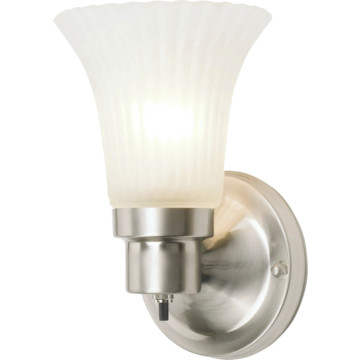 Seasons One-Light Wall Sconce With Turn Switch Satin Nickel Frosted Glass HD Supply
