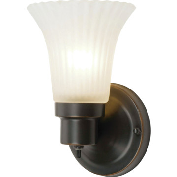 Wall Sconce With Rotary Switch : One-Light Wall Sconce With Turn Switch oil-Rubbed Bronze Frosted Glass HD Supply