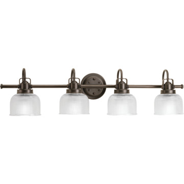Bronze Vanity Lights With Clear Glass : Archie Vanity Fixture,Four Light,Venetian Bronze,Clear Double Prismatic Glass HD Supply