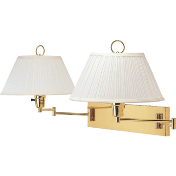 double swing arm wall lamp polished brass plug in hd supply. Black Bedroom Furniture Sets. Home Design Ideas