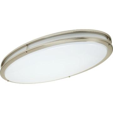 64 watt fluorescent oval ceiling fixture brushed nickel. Black Bedroom Furniture Sets. Home Design Ideas