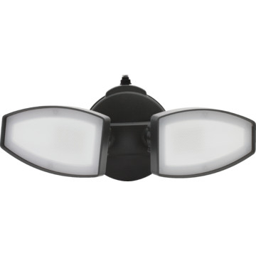 led 2 head security flood light 20 watt 120 volt black 4000k. Black Bedroom Furniture Sets. Home Design Ideas