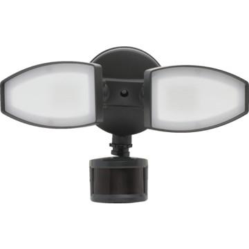 led 2 head security flood light 20 watt 120 volt black motion. Black Bedroom Furniture Sets. Home Design Ideas