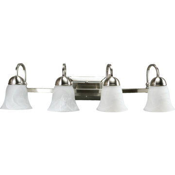 Vanity Light Fixture Led : LED Four-Light Vanity Fixture, Brushed Nickel, Alabaster Style Glass, 34 Watt HD Supply
