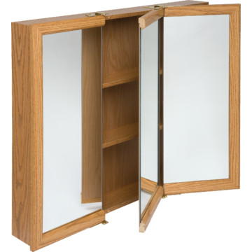 30w X 26 Surface Mount Oak Tri View Wood Mirrored Medicine Cabinet