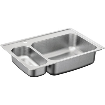 33x22 Stainless Steel Sink : Moen 33x22 20-Gauge Double Bowl Drop-In Sink In Stainless Steel HD ...