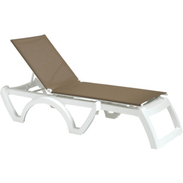 Grosfillex calypso chaise lounge taupe white package of 2 - Grosfillex chaise longue ...