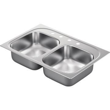 moen 33 x 22 quot bowl stainless steel kitchen sink 4