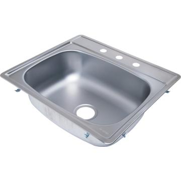 aspen 25 x 22 quot single bowl stainless steel kitchen sink 3