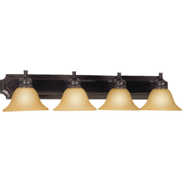 Bristol Four Light Vanity Fixture Oil Rubbed Bronze Tea Speckeled Glass H