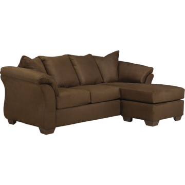 Signature design by ashley darcy sofa chaise in cafe for Ashley microfiber chaise lounge
