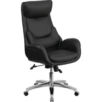 high back black leather executive office chair with lumbar pillow hd