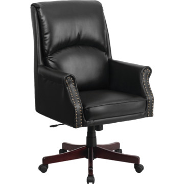High Back Pillow Back Black Leather Executive Swivel Office Chair HD