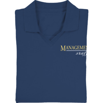 Women 39 s navy blue screen printed polo shirt for management for Screen printed polo shirts