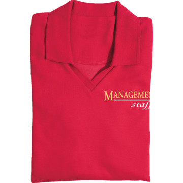 Women 39 s red screen printed polo shirt for management staff for Screen printing polo shirts