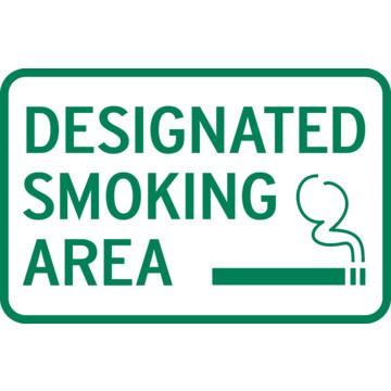 Designated Smoking Area Sign, Aluminum, Non-Reflective, 18 x 12 ...