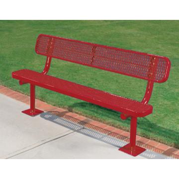 Surface Mount Park Bench Red Galvanized Steel 6