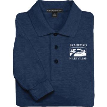 men 39 s custom embroidered long sleeve polo shirt navy blue
