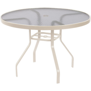 47 round acrylic top dining table off white hd supply for Off white round dining table