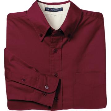 Women 39 s burgundy custom button down long sleeve shirt x for Burgundy long sleeve t shirt womens