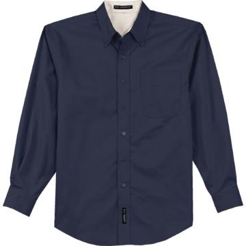 Men 39 S Navy Blue Custom Button Down Long Sleeve Shirt