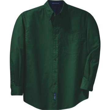 Men's Custom Embroidered Long-Sleeve Button-Down Shirt, Dark Green ...